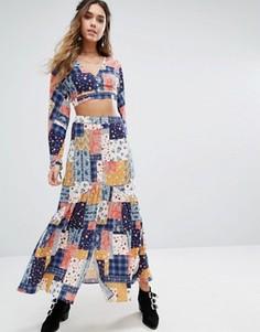 Комбинируемая юбка макси с разрезом на пуговицах спереди Kiss The Sky - Мульти