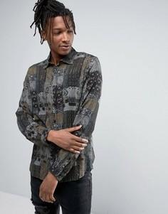 Коричневая рубашка классического кроя из вискозы с винтажным принтом ASOS - Коричневый