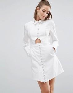 Платье-рубашка с длинными рукавами C/meo Collective Let It Go - Белый