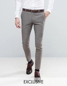 Супероблегающие брюки из твида с узором елочка Heart & Dagger - Коричневый