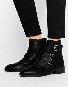 Кожаные ботинки с пряжками ASOS ALASKA - Черный