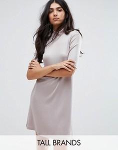 Платье с высокой горловиной и заниженной талией Y.A.S Tall Sheila - Бежевый