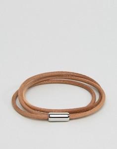 Светло-коричневый кожаный браслет в несколько оборотов BOSS by Hugo Boss - Рыжий