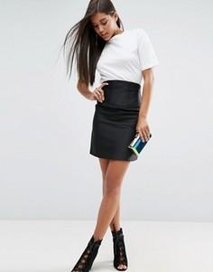 Атласная юбка с корсетной отделкой ASOS Premium - Черный