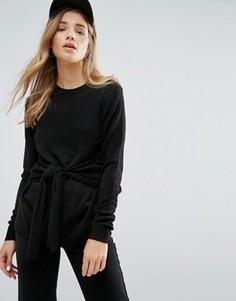 Трикотажный джемпер с завязкой спереди New Look - Черный