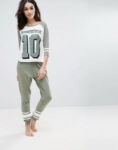 Пижамный комплект с принтом Sleep Until 10 New Look - Зеленый