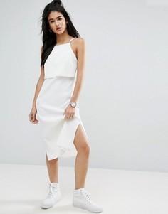 Платье миди в рубчик с кроп-топом ASOS - Кремовый