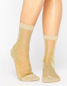Полупрозрачные носки с блестками ASOS - Золотой