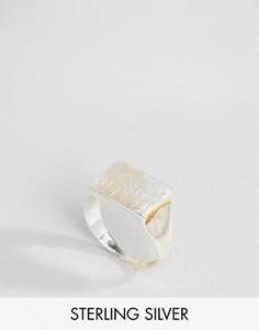 Посеребренное кольцо с печаткой Pieces - Серебряный