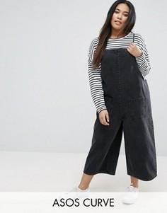 Укороченный джинсовый комбинезон черного выбеленного цвета ASOS CURVE - Черный