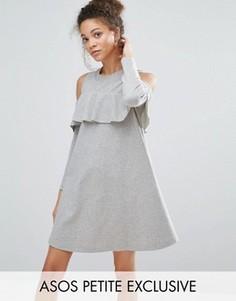 Трикотажное платье с вырезами на плечах и оборкой ASOS PETITE - Серый