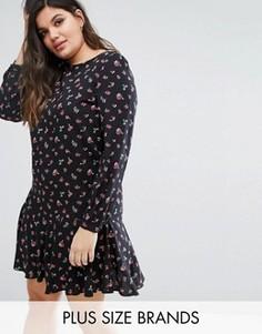 Короткое приталенное платье с длинными рукавами и розами Alice & You - Мульти