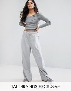 Брюки в стиле casual с широкими штанинами Daisy Street Tall - Серый