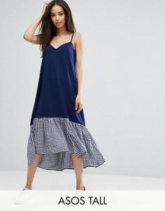 Платье миди на бретельках с асимметричным краем в клеточку ASOS TALL - Синий