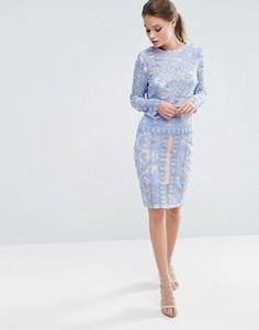 Комбинируемая юбка миди из кружева Endless Rose - Синий