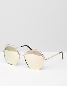 Круглые солнцезащитные очки цвета розового золота в металлической оправе AJ Morgan - Золотой