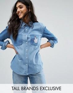 Джинсовая свободная рубашка с заплатками Daisy Street Tall - Синий