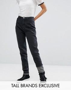 Джинсы в винтажном стиле с заплатками и бахромой Daisy Street Tall - Черный
