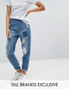 Джинсы с винтажном стиле с заплатками Daisy Street Tall - Синий