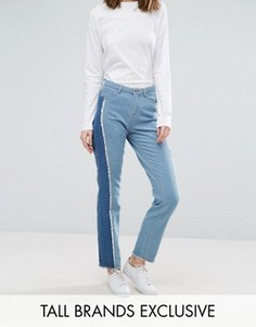 Зауженные джинсы с полосой сбоку в стиле пэтчворк Daisy Street Tall - Синий