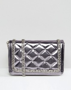Стеганая сумка на плечо цвета металлик ASOS - Фиолетовый