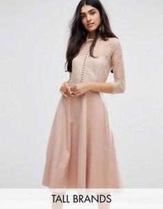 Приталенное платье с кружевной кокеткой и рукавами 3/4 Y.A.S Tall - Розовый