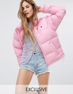 Дутая куртка с кошкой Lazy Oaf - Розовый
