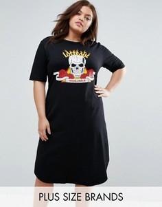 Платье-футболка с надписью Lost Soul Troublemaker Pink Clove - Черный