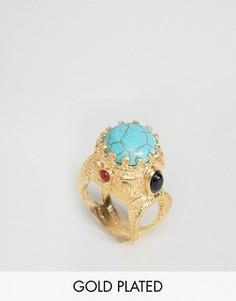 Броское кольцо с полудрагоценным камнем Ottoman Hands - Золотой