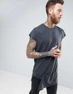 Oversize-футболка с эффектом кислотной стирки ASOS - Серый