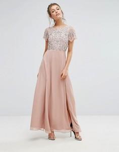 Платье макси с декорированным пайетками топом и расклешенными рукавами Frock & Frill - Розовый