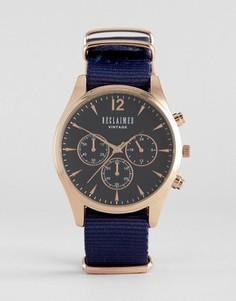 Часы-хронограф с темно-синим парусиновым ремешком Reclaimed Vintage - Темно-синий