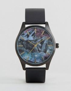 Черные часы с кожаным ремешком и принтом Reclaimed Vintage - Черный