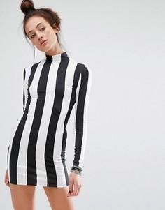 Облегающее платье в монохромную полоску с длинными рукавами Motel - Черный