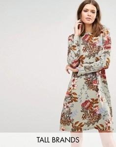 Платье с длинными рукавами и принтом Y.A.S Tall Ilvaley - Мульти