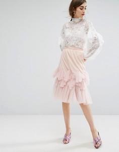 Юбка миди с баской E.F.L.A - Розовый