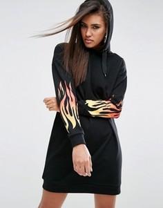 Трикотажное платье-худи с принтом пламени ASOS - Черный