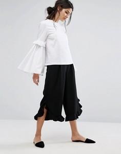 Юбка-брюки с оборками Neon Rose - Черный