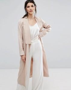 Легкое атласное пальто свободного кроя Neon Rose - Розовый
