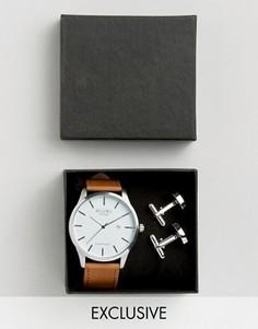 Подарочный набор из часов с кожаным ремешком и серебристыми запонками Reclaimed Vintage - Рыжий