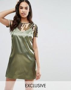 Атласное платье мини с сетчатым топом NaaNaa - Зеленый
