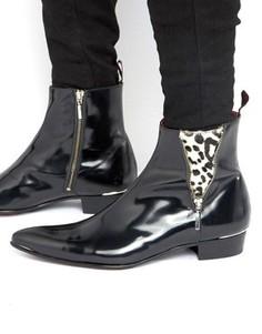 Кожаные ботинки с молнией Jeffery West Adam Ant - Черный