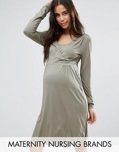 Приталенное платье для кормящих мам с запахом и ажурными вставками Mamalicious - Stone Mama.Licious