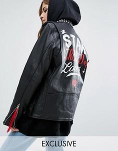 Кожаная байкерская куртка Reclaimed Vintage X Romeo And Juliet - Черный