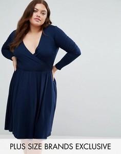 Короткое приталенное платье с запахом и длинными рукавами Club L Plus - Темно-синий