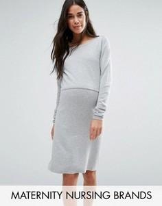 Двухслойное трикотажное платье с длинными рукавами Mamalicious Nursing - Серый Mama.Licious