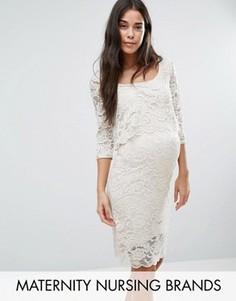 Кружевное платье для кормящих мам Mamalicious - Кремовый Mama.Licious