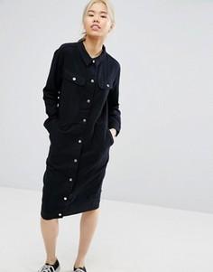 Платье в стиле милитари Weekday - Черный