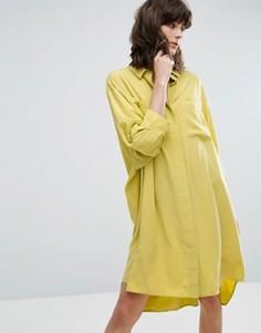 Платье-рубашка из купро Weekday - Желтый