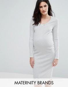 Трикотажное облегающее платье в полоску с длинными рукавами Mamalicious - Белый Mama.Licious
